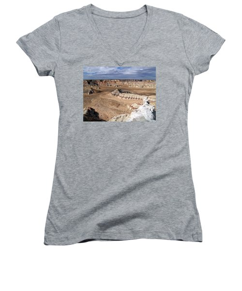 Coal Mine Mesa 11 Women's V-Neck T-Shirt (Junior Cut) by Jeff Brunton