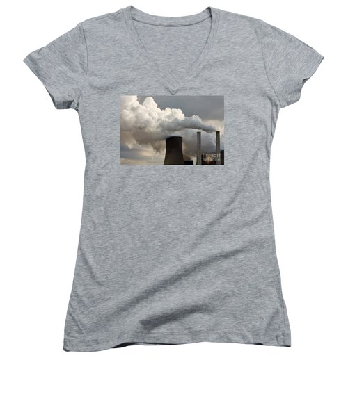 Coal Power Station Blasting Away Women's V-Neck