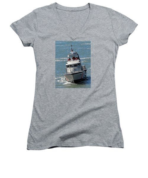 Women's V-Neck T-Shirt (Junior Cut) featuring the photograph Coast Guard At Depot Bay by Chris Anderson