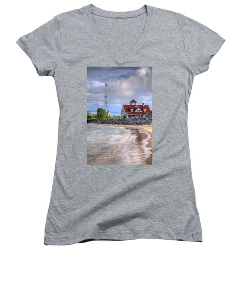 Coast Guard Station In Muskegon Women's V-Neck (Athletic Fit)