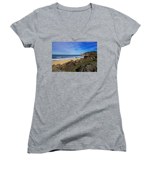 Coastal Beauty Women's V-Neck T-Shirt (Junior Cut) by Dave Files