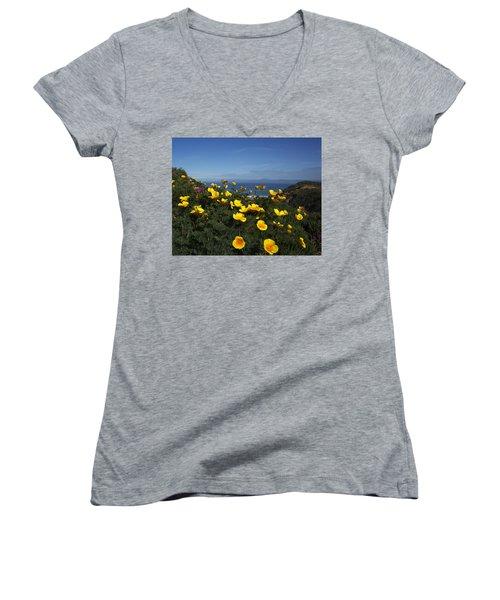 Women's V-Neck T-Shirt (Junior Cut) featuring the photograph Coastal California Poppies by Susan Rovira