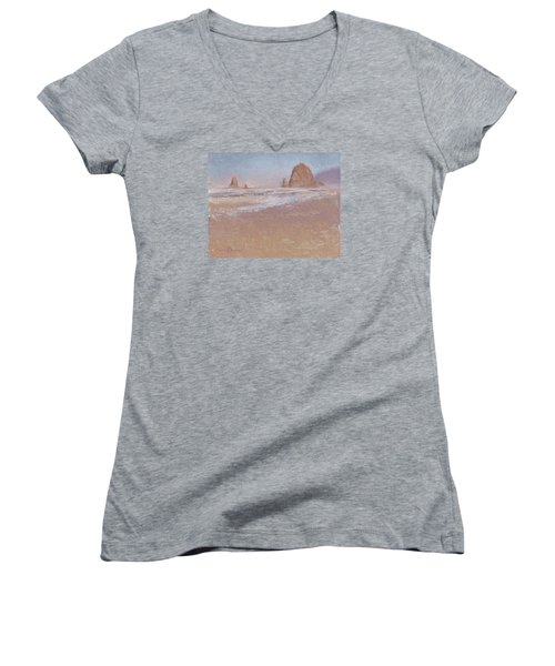 Coastal Escape  Cannon Beach Oregon And Haystack Rock  Women's V-Neck T-Shirt
