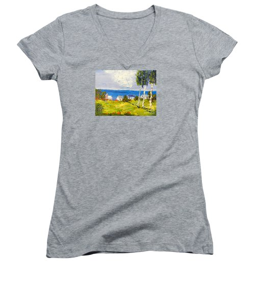 Women's V-Neck T-Shirt (Junior Cut) featuring the painting Coastal Fishing Village by Pamela  Meredith