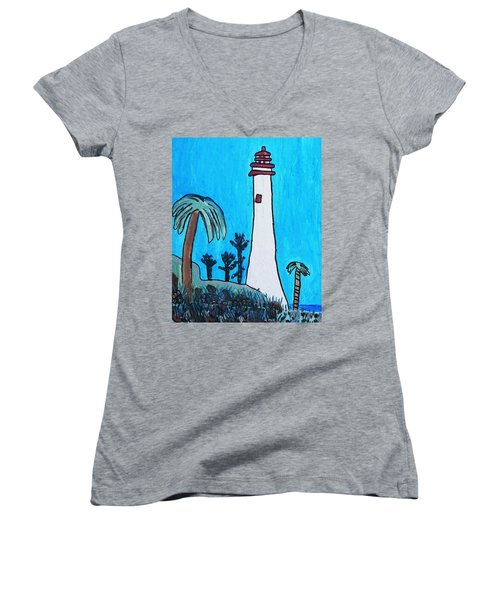 Coastal Lighthouse Women's V-Neck T-Shirt (Junior Cut) by Artists With Autism Inc