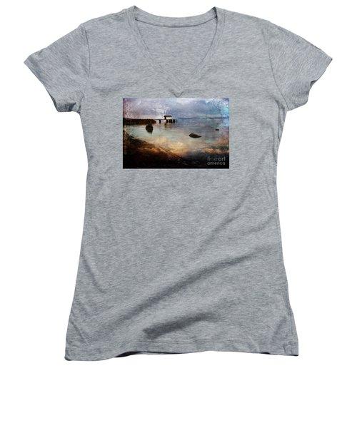 Coastal Path Women's V-Neck T-Shirt (Junior Cut) by Randi Grace Nilsberg