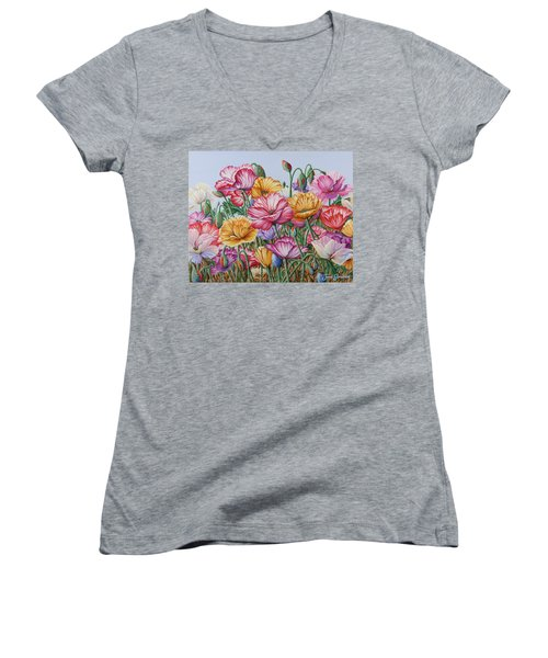 Women's V-Neck T-Shirt (Junior Cut) featuring the painting Coastal Poppies by Jane Girardot