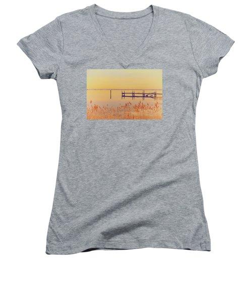 Coastal Winter Women's V-Neck T-Shirt (Junior Cut) by Karol Livote