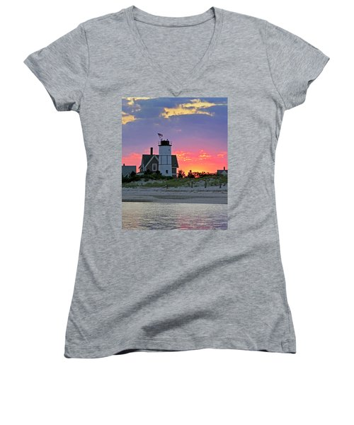 Cocktail Hour At Sandy Neck Lighthouse Women's V-Neck