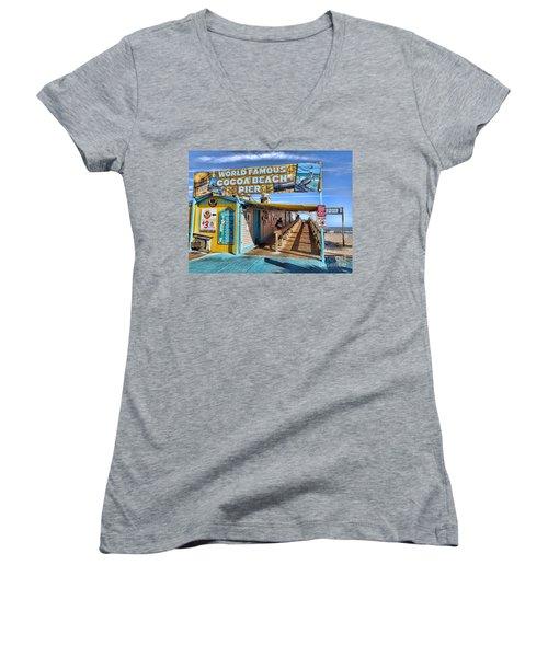 Cocoa Beach Pier In Florida Women's V-Neck T-Shirt