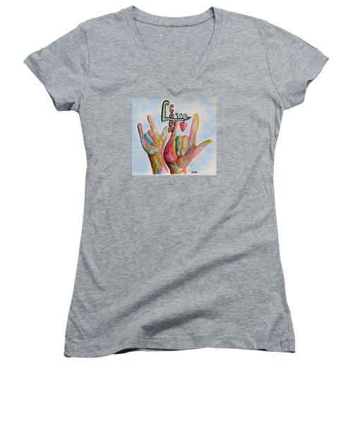 Coda - Children Of Deaf Adults Women's V-Neck T-Shirt (Junior Cut) by Eloise Schneider