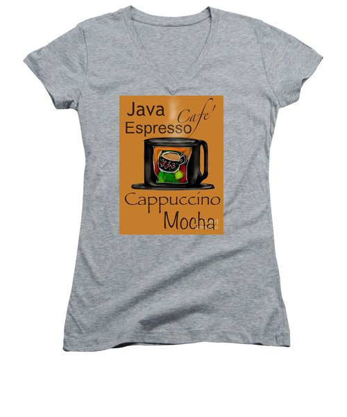 Coffee Break Women's V-Neck T-Shirt (Junior Cut) by Christine Fournier