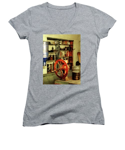 Women's V-Neck T-Shirt (Junior Cut) featuring the photograph Coffee Grinder And Canister Of Sugar by Susan Savad