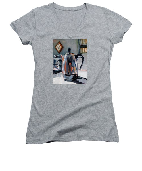 Women's V-Neck T-Shirt (Junior Cut) featuring the painting Coffeepot by Pattie Wall