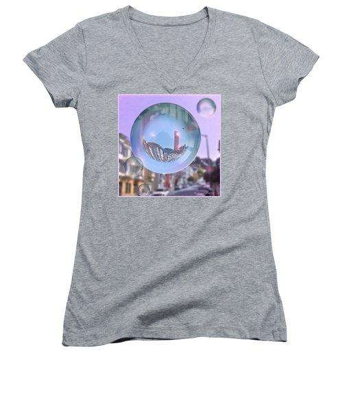 Coit Tower In A Bubble And Purple Sky Women's V-Neck T-Shirt (Junior Cut) by Anna Porter
