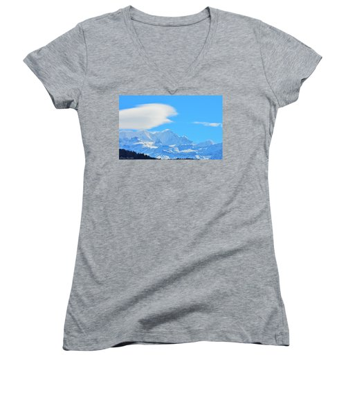Cold And Sunny Alps Women's V-Neck T-Shirt