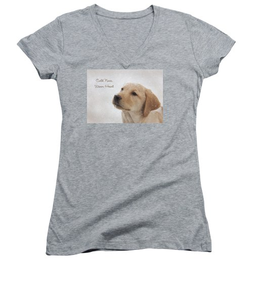 Cold Nose Warm Heart Women's V-Neck T-Shirt