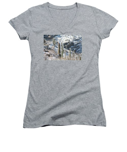 Cold Saguaros Women's V-Neck T-Shirt (Junior Cut) by David S Reynolds