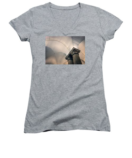 Women's V-Neck T-Shirt (Junior Cut) featuring the photograph Columns by Rob Sellers
