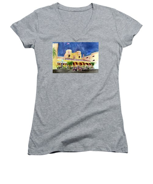 Colony Hotel In Delray Beach Women's V-Neck T-Shirt (Junior Cut) by Donna Walsh