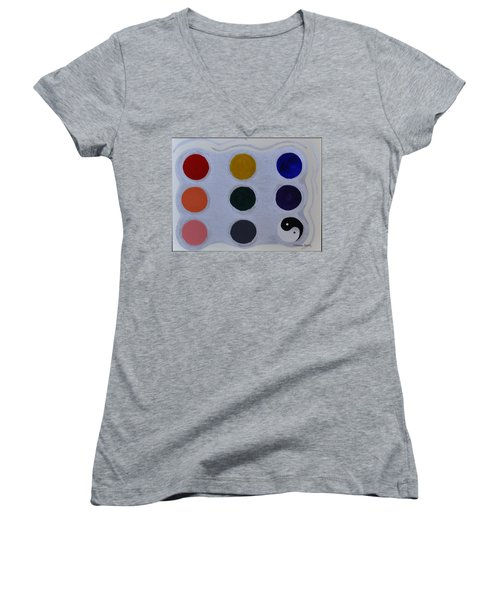 Color From The Series The Elements And Principles Of Art Women's V-Neck T-Shirt (Junior Cut) by Verana Stark