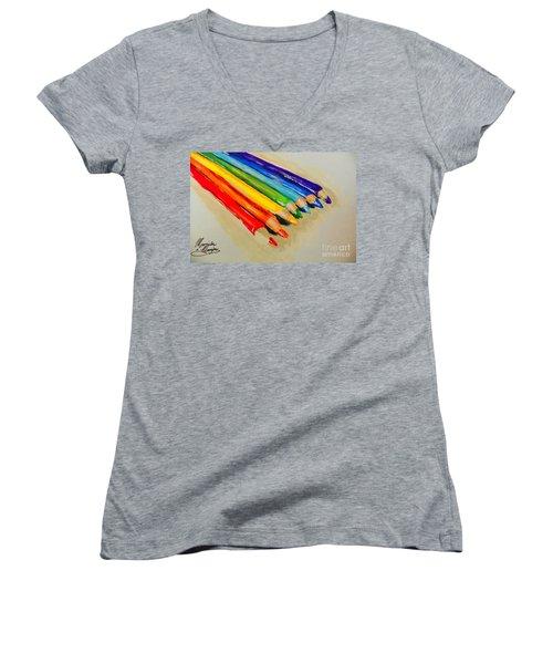 Color Pencils Women's V-Neck T-Shirt (Junior Cut) by Marisela Mungia