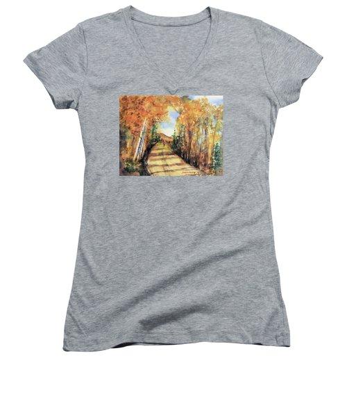 Colorado In September Women's V-Neck T-Shirt (Junior Cut) by Debbie Lewis