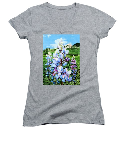 Women's V-Neck T-Shirt (Junior Cut) featuring the painting Colorado Summer Blues by Barbara Jewell