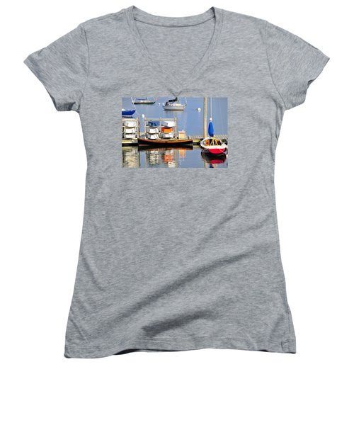 Colorful Boats Rockland Maine Women's V-Neck T-Shirt