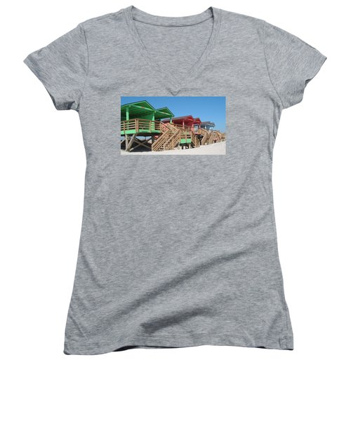 Colorful Cabanas Women's V-Neck T-Shirt (Junior Cut) by Caryl J Bohn