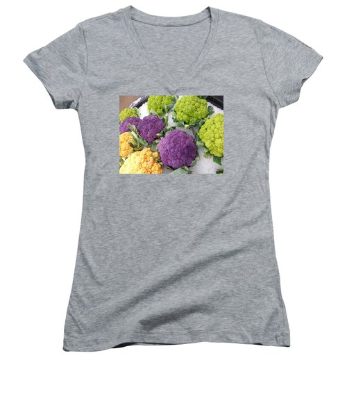 Women's V-Neck T-Shirt (Junior Cut) featuring the photograph Colorful Cauliflower by Caryl J Bohn