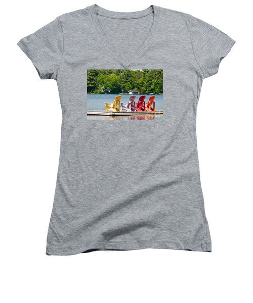 Women's V-Neck T-Shirt (Junior Cut) featuring the photograph Colorful Chairs by Les Palenik