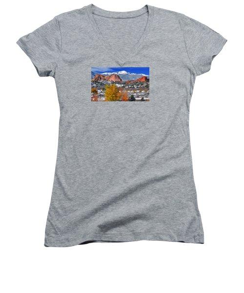 Colorful Colorado Women's V-Neck T-Shirt (Junior Cut) by John Hoffman