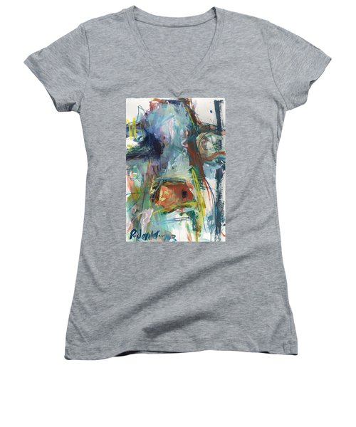 Colorful Cow Print Women's V-Neck T-Shirt (Junior Cut) by Robert Joyner