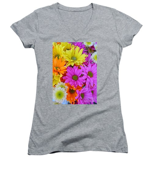 Colorful Daisies Women's V-Neck (Athletic Fit)