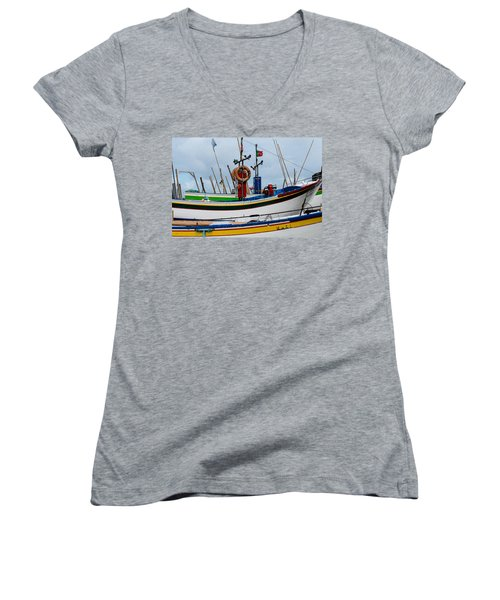 colorful fishing boat with Portuguese flag  Women's V-Neck (Athletic Fit)
