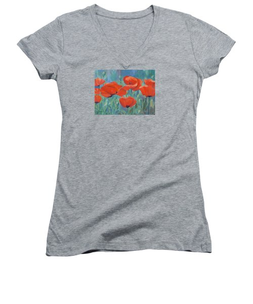 Colorful Flowers Red Poppies Beautiful Floral Art Women's V-Neck T-Shirt (Junior Cut) by Elizabeth Sawyer
