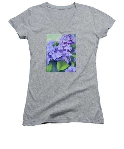 Colorful Hydrangeas Original Purple Floral Art Painting Garden Flower Floral Artist K. Joann Russell Women's V-Neck T-Shirt