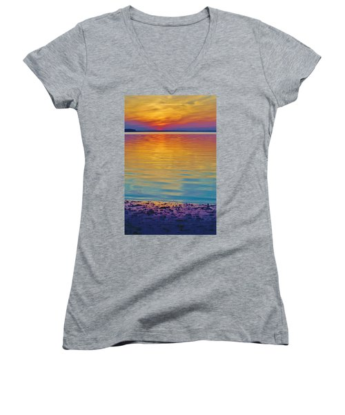 Colorful Lowtide Sunset Women's V-Neck (Athletic Fit)