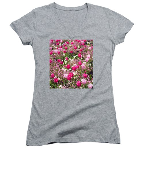 Colorful Pink Tulips And Other Flowers In Spring Women's V-Neck T-Shirt (Junior Cut) by Matthias Hauser