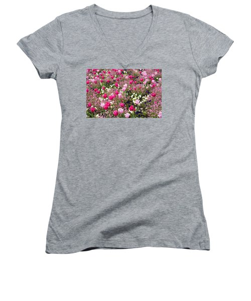 Colorful Pink Tulips And Other Flowers In Spring Women's V-Neck