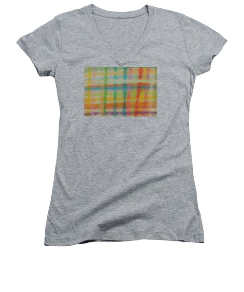 Women's V-Neck T-Shirt featuring the drawing Colorful Plaid by Thomasina Durkay