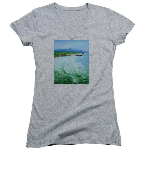 Colorful Seascape Oregon Cannon Beach Ecola Landscape Art Painting Women's V-Neck T-Shirt (Junior Cut) by Elizabeth Sawyer