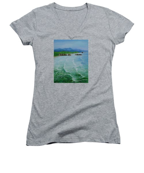 Colorful Seascape Oregon Cannon Beach Ecola Landscape Art Painting Women's V-Neck T-Shirt