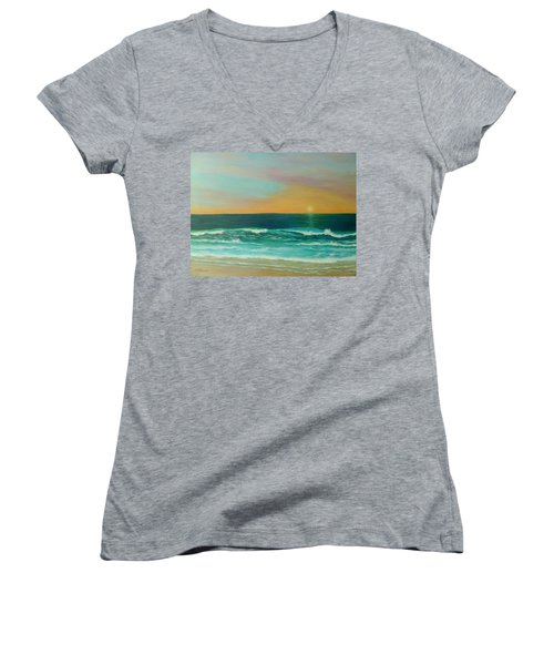 Colorful Sunset Beach Paintings Women's V-Neck