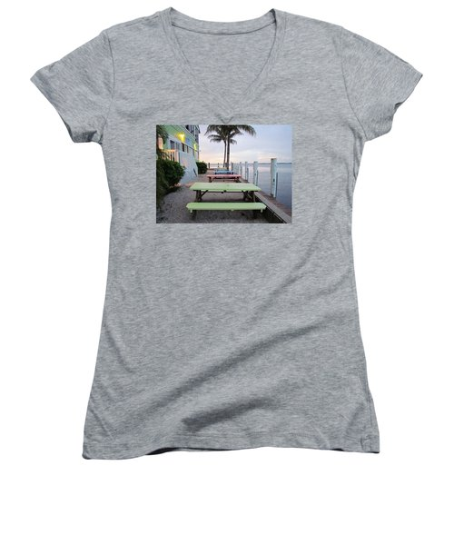 Women's V-Neck T-Shirt (Junior Cut) featuring the photograph Colorful Tables by Cynthia Guinn