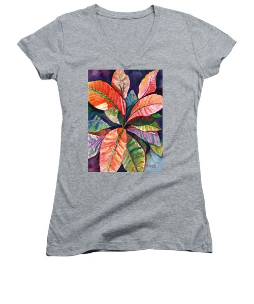 Colorful Tropical Leaves 1 Women's V-Neck T-Shirt (Junior Cut) by Marionette Taboniar