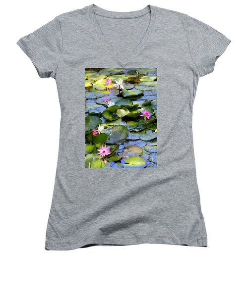 Colorful Water Lily Pond Women's V-Neck