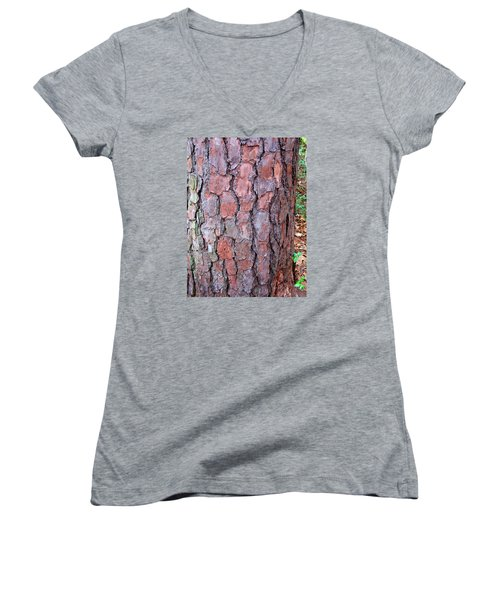 Colors And Patterns Of Pine Bark Women's V-Neck T-Shirt (Junior Cut) by Connie Fox