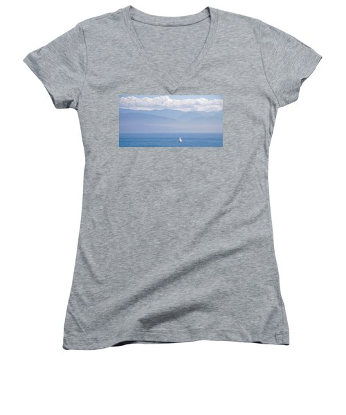Colors Of Alaska - Sailboat And Blue Women's V-Neck (Athletic Fit)